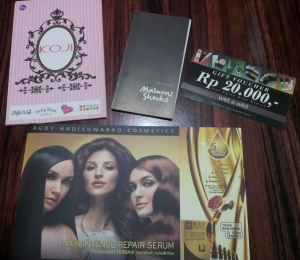 Vouchers and booklets breakdown : Koji and Masami Shouko booklets, Wet n Wild voucher, Rudy Hadisuwarno brochure